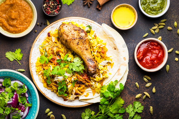 Biryani chicken and indian dishes - Stock Photo - Images