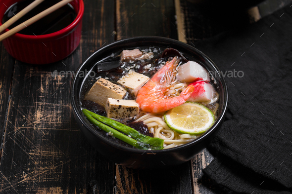 Table served with asian noodle soup - Stock Photo - Images