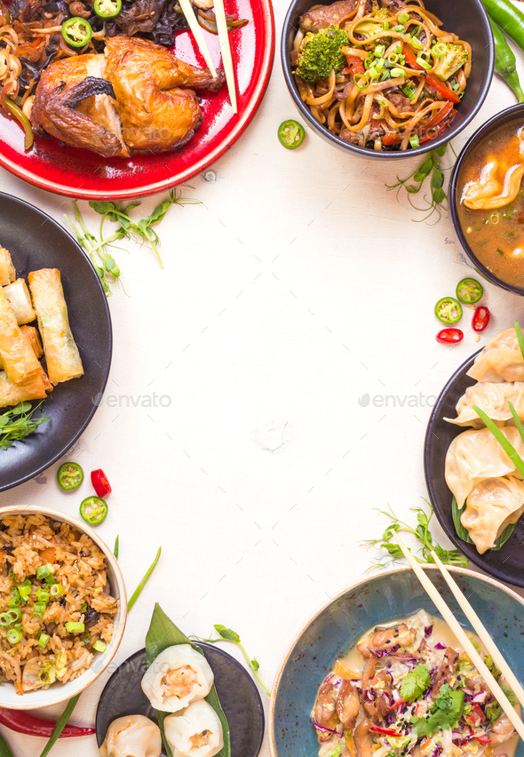 Chinese food white background - Stock Photo - Images