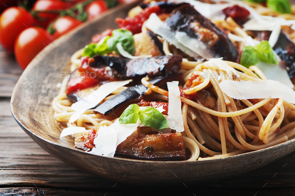 Italian traditional pasta with eggplant - Stock Photo - Images