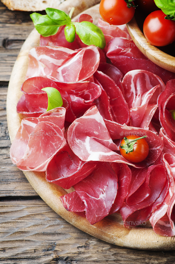 Italian Delicious Antipasto with ham and bresaola - Stock Photo - Images
