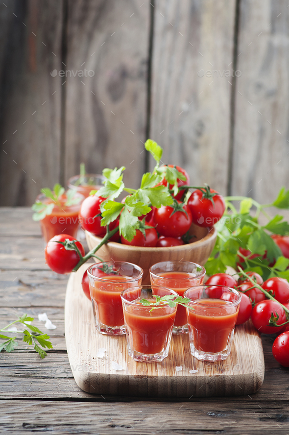 Bloody mary cocktail on the wooden table - Stock Photo - Images