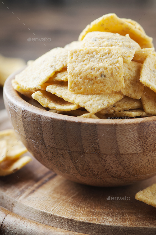 Traditional mexican mais chips on the wooden table - Stock Photo - Images