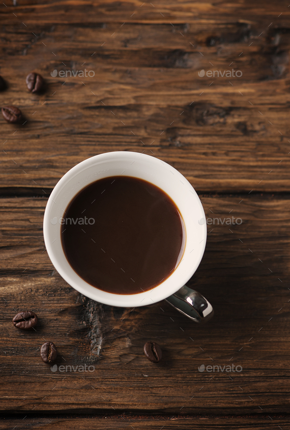 Cup of italian stong coffee espresso on the vintage table - Stock Photo - Images