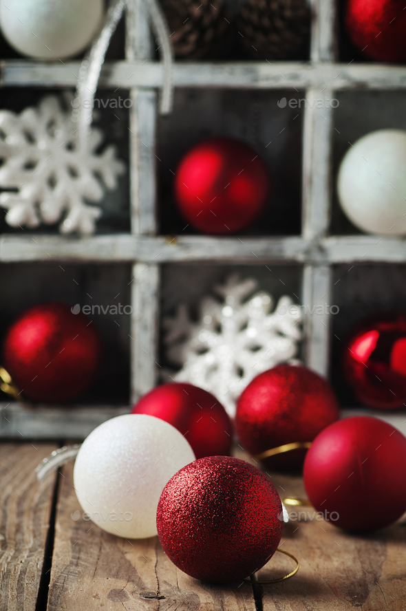 Christmas card with balls on the wooden table - Stock Photo - Images