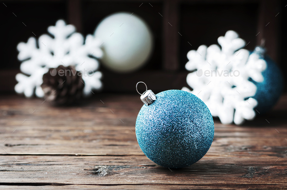 Christmas card with balls and cone - Stock Photo - Images