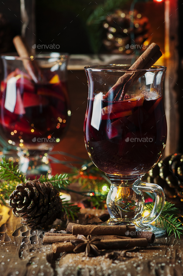 Traditional winter mulled wine and christmas ornament - Stock Photo - Images