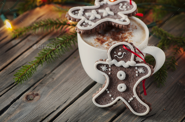 Gingerbread for christmas on the vintage table - Stock Photo - Images