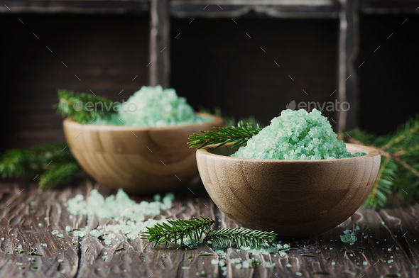 Concept of spa with salt and pine branches - Stock Photo - Images