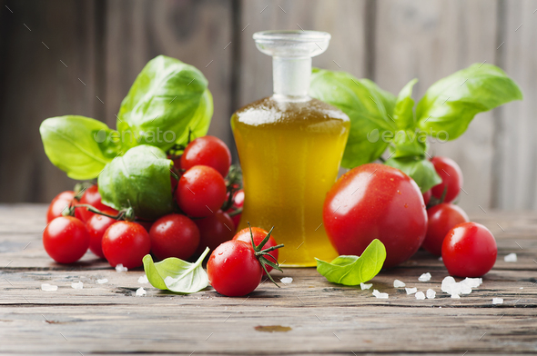 Fresh tomato, basil and olive oil - Stock Photo - Images