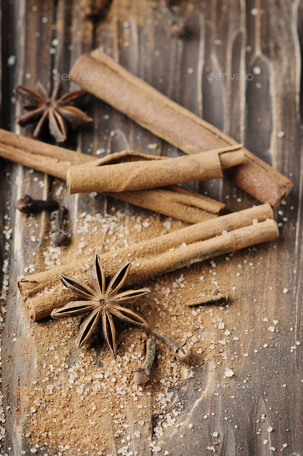 Spices cinnamon and anise on the wooden table - Stock Photo - Images