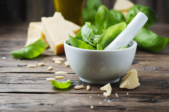 Italian traditional pesto on the wooden table - Stock Photo - Images