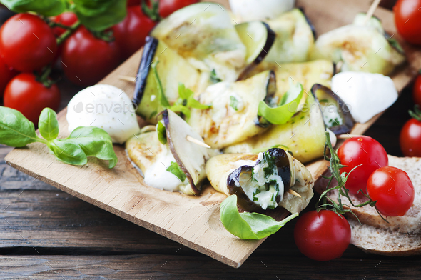 Vegetarian Eggplant rolls with cottage cheese - Stock Photo - Images