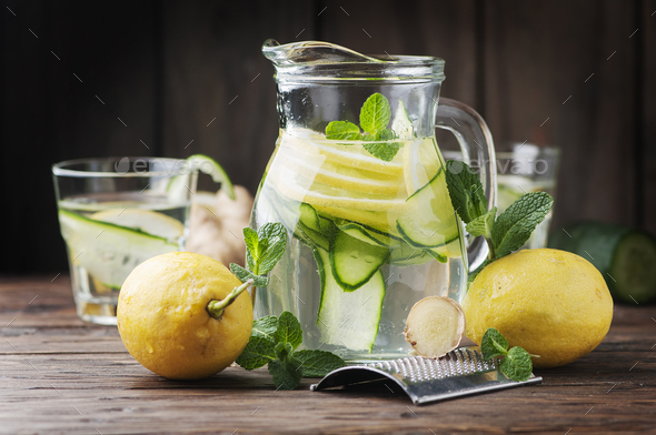 Water with lemon, cucmber and ginger - Stock Photo - Images