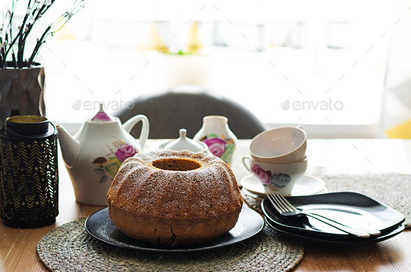 Pumpkin cake with chocolate chips for autumn fall dinner. Vegetarian food. - Stock Photo - Images
