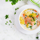 Creamy soup with salmon, potatoes, onions and carrots - PhotoDune Item for Sale