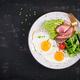 Fried eggs, ham, avocado and fresh salad.  Keto breakfast. Brunch. - PhotoDune Item for Sale