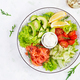 Salad of salted fish salmon, avocado, cherry tomatoes, cucumber, lettuce and cream cheese. - PhotoDune Item for Sale