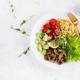 Vegan Buddha bowl with lentil, avocado, mushrooms, lettuce, tomatoes - PhotoDune Item for Sale