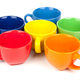 Multi-colored coffee cups on white - PhotoDune Item for Sale