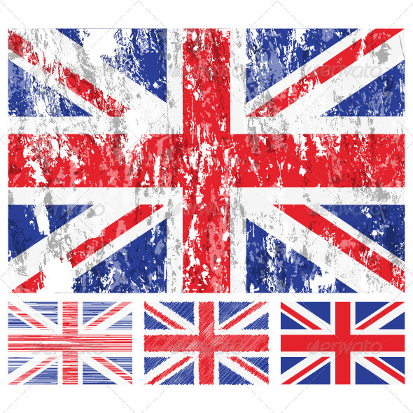 United kingdom grunge flag set - Conceptual Vectors