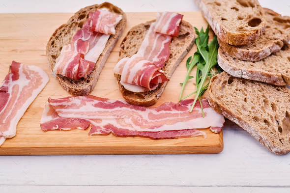 Bread with gourmet meat - Stock Photo - Images
