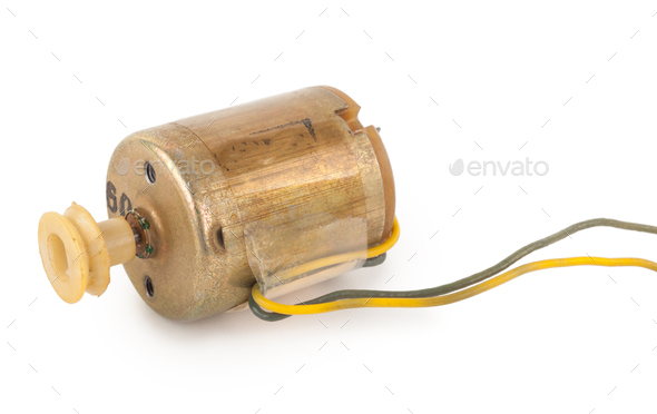 Small electric motor on white background - Stock Photo - Images