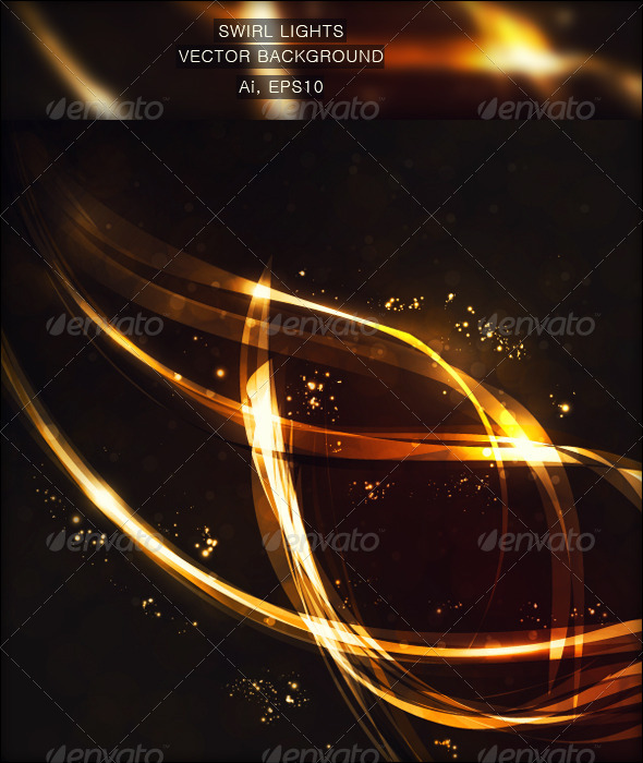 Swirl Lights Vector Background - Backgrounds Decorative