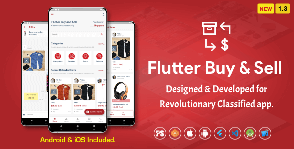 Flutter BuySell For iOS Android ( Olx, Mercari, Offerup, Carousell, Buy Sell, Classified ) ( 1.3 )