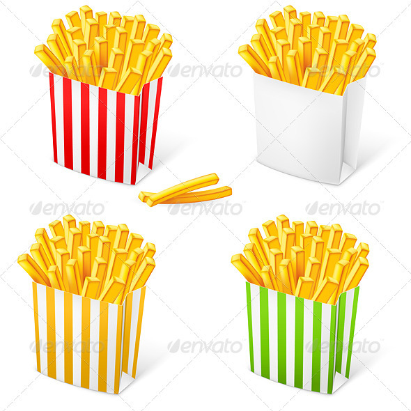French fries in a multi-colored striped packaging - Food Objects