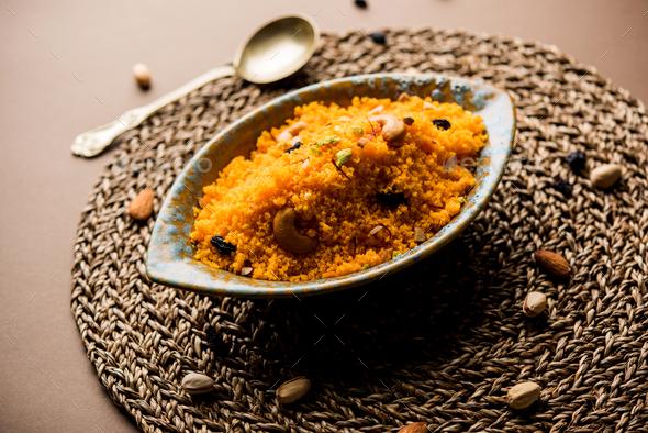 Almond Saffron Halwa - Stock Photo - Images