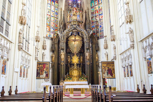 Interior view of Maria am Gestade church in Vienna - Stock Photo - Images