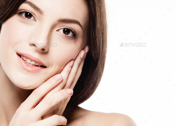 Young beautiful woman with hands  portrait with healthy skin studio on white - Stock Photo - Images