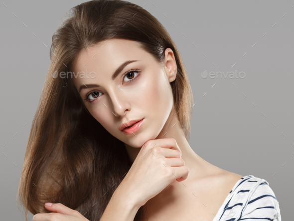Young beautiful woman face portrait with healthy skin - Stock Photo - Images