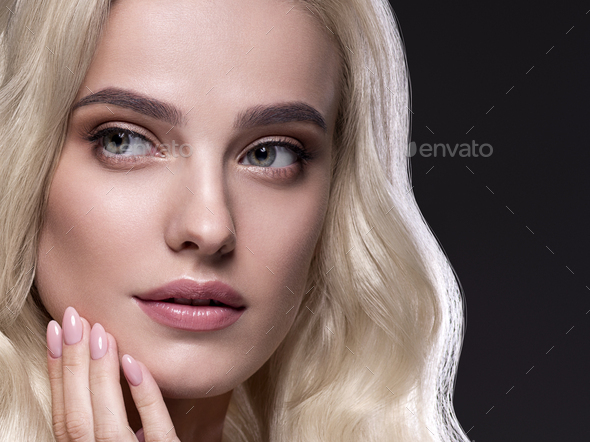 Blonde platinum hair woman beauty face portrait - Stock Photo - Images