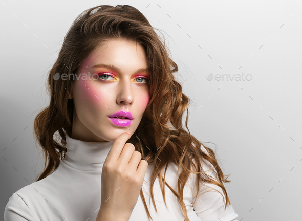 Pink lips color make up female beauty face - Stock Photo - Images