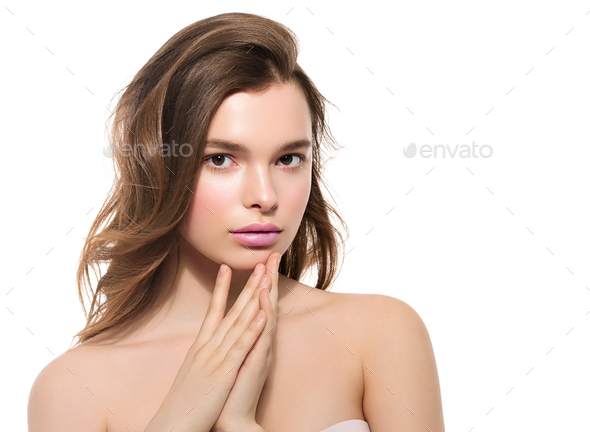 Fashion natural make up woman clean skin beauty portrait - Stock Photo - Images