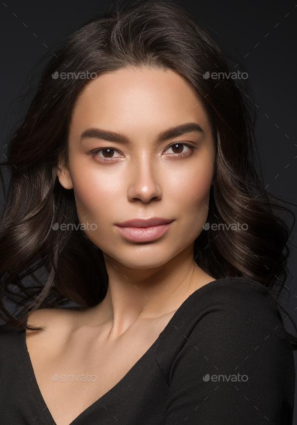 Asian beauty  woman face natural makeup head shot - Stock Photo - Images