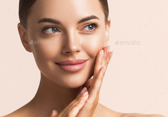 Beauty face woman make up tanned skin - Stock Photo - Images