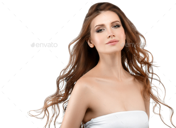 Young woman beauty skin and beautiful hairstyle isolated - Stock Photo - Images