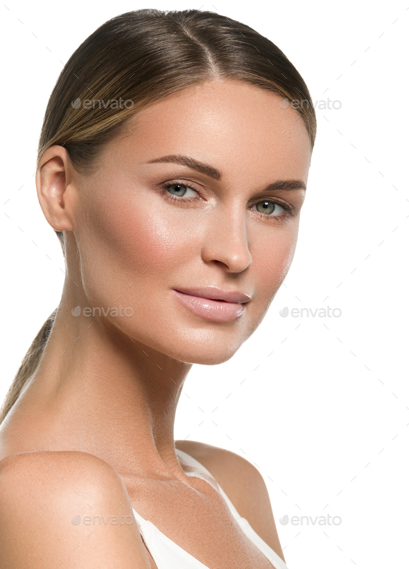 Healthy skin tanned beauty woman face close up - Stock Photo - Images