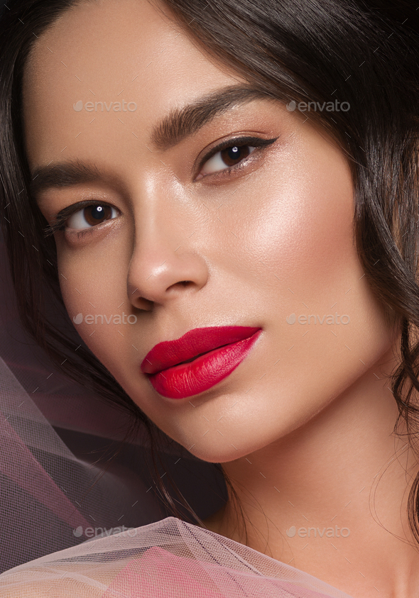 Art beautiful woman portrait red lipstick dress asian - Stock Photo - Images