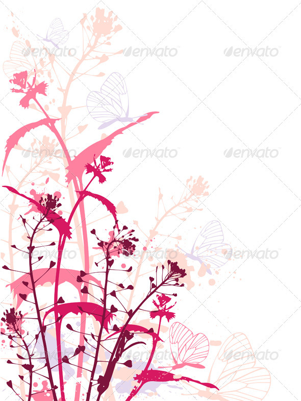 Background with Flowers and Butterflies - Flowers & Plants Nature