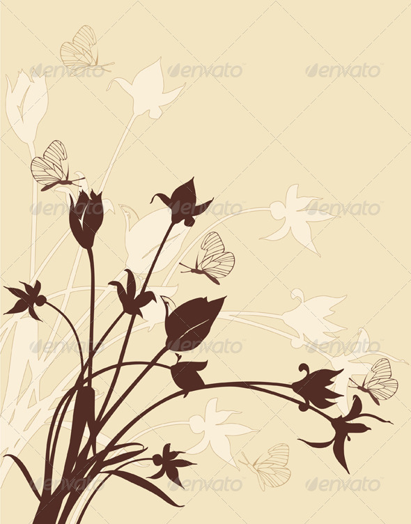 Abstract Floral Background with Tulips - Flowers & Plants Nature