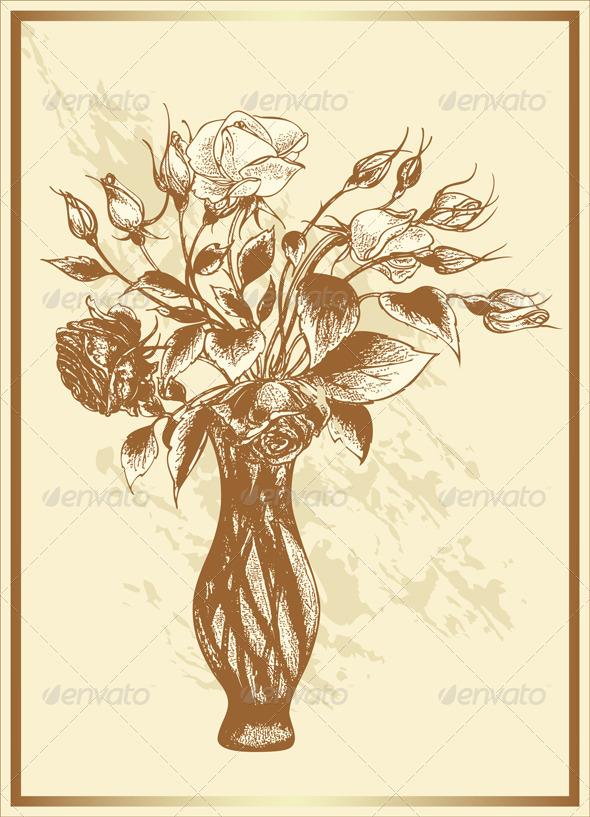 Vintage Bouquet of Roses - Backgrounds Decorative