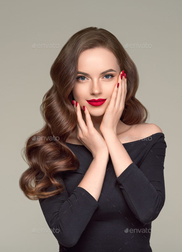 Red lipstick woman beauty hair close up face fashion portrait - Stock Photo - Images