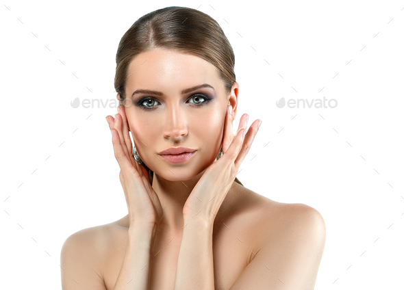 Woman face beauty with healthy nails manicure and hands skin. - Stock Photo - Images
