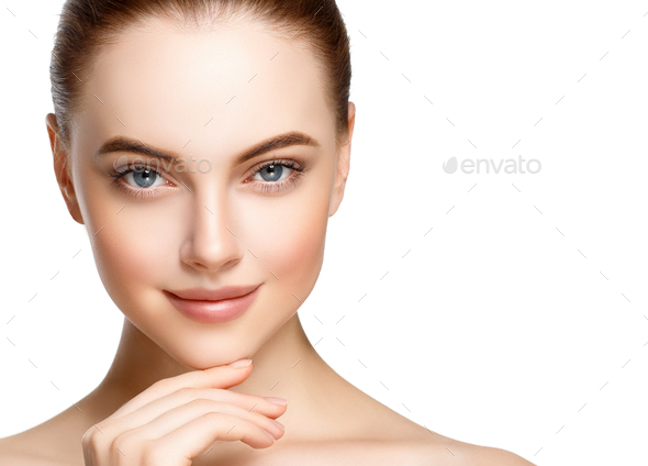 Skin care woman face with healthy beauty skin face closeup cosmetic age concept - Stock Photo - Images