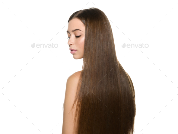 Beautiful freckles brunette woman with long smooth hair shine and soft isolated on white - Stock Photo - Images
