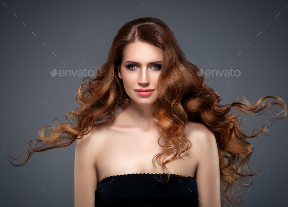 Beautiful hair woman beauty skin portrait over dark background. Long beautiful healthy hair mode - Stock Photo - Images